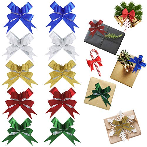 Besteek 200 Pcs Christmas Pull Bows, Christmas Bows for Wrapping or Floral Decoration, Christmas Pull Bows