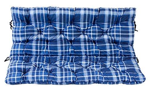 Ambient home Coussin à carreaux pour Banc de jardin HANKO Bleu 120 x 95 x 8 cm 90629