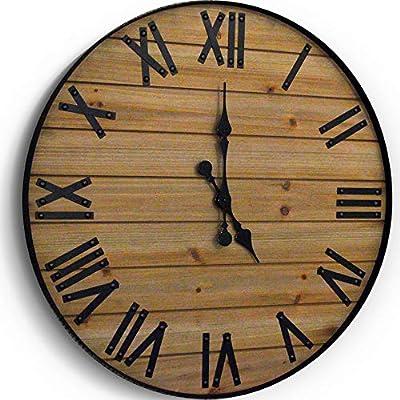 WallCharmers 24 inch Rustic Wall Clock   Handmade Large Clock   Real Wood Clock Beautiful Decorative Wall Clock Large  Oversized Wall Clock Large Wall Clock Wooden Clock Rustic Clock Large Wall Clocks