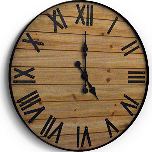 24 Inch Rustic Wall Clock Handmade Large Clock Real Wood Clock Beautiful Decorative Wall Clock Large Oversized Wall Clock Large Wall Clock Wooden Clock Rustic Clock Large Wall Clocks