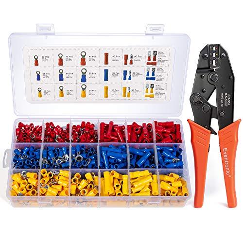 EVENTRONIC Crimpzange Kabelschuhe Set,27 Arten von Flachstecker AWG22-10(0,5-6 qmm) Kabelschuh Sortiment Kabelschuhzange mit 800 Stück Aderendhülsen Set Quetschverbinder