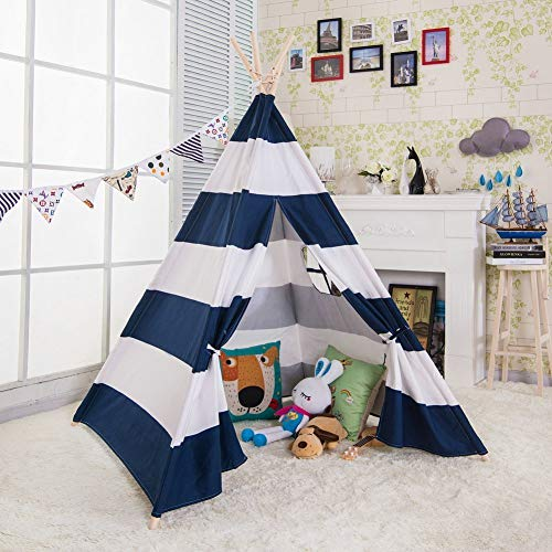 e-joy 6' Indoor Indian Playhouse Toy Teepee Play Tent for Kids Toddlers Canvas Teepee with Carry Case with Mat (Blue Stripe)