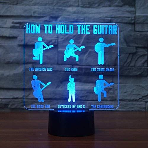 3d Visual Usb Kid Gifts Lámpara de modelado de guitarrista que cambia de color 7 Cómo sostener la lámpara de mesa de guitarra Botón táctil LED Luz nocturna