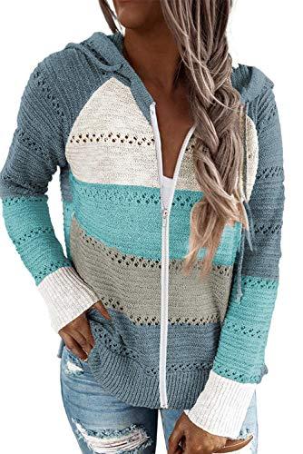 Acelitt Women's Casual Lightweight Long Sleeve Zip up Zipper Striped Knit Sweaters Hoodies Sweatshirts Pullover Medium Sky Blue
