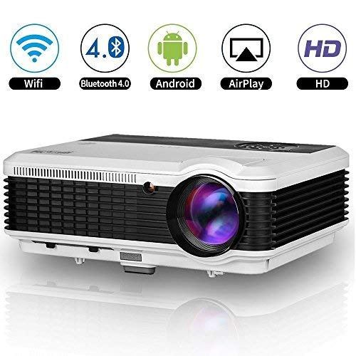 4600 Lumens HD LCD WiFi Bluetooth Projector Wireless Multimedia LED Home Video Projector Support 1080p Android Home Cinema Outdoor Movie Theater Gaming Projector with 2 HDMI USB TV RCA Audio AV Input