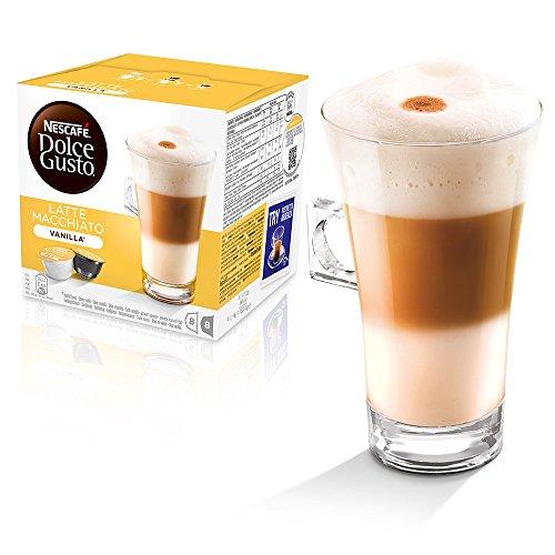 Dolce Gusto Original Kaffeekapseln Caffè Macchiato und Cappuccino, Latte Macchiato Vanille, 48 Stück