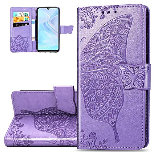HMTECH Huawei Y6 2019 HulleHuawei Y6 2019 Handyhulle Pragung Schmetterling Blumen Flip Case PU Leder Magnet Schutzhulle Handytasche fur Huawei Y6 2019SD Butterfly Light Purple