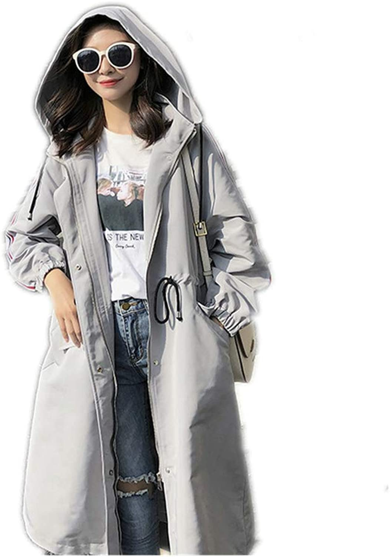 LHHJ Coat Polyester Long Ladies Hooded Grey Jacket