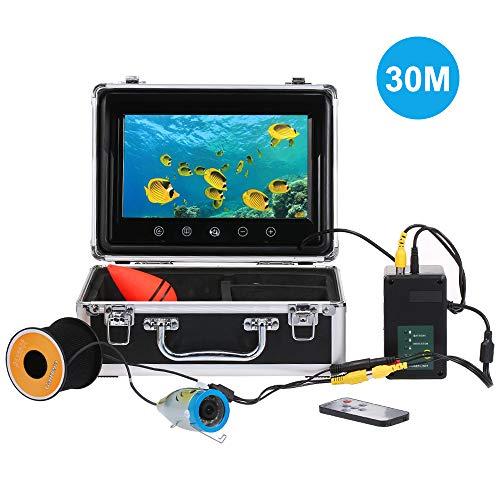 OWSOO 30M Fish Finder Unterwasserkamera 7 Zoll Farbdisplay 1000TVL CAM 24pcs Infrarot und weiße LED IP68 wasserdicht