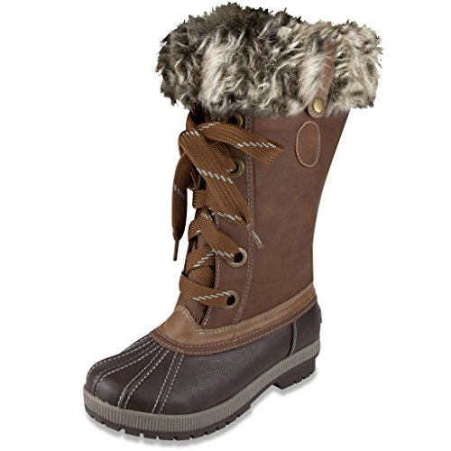 LONDON FOG Womens Melton Cold Weather Waterproof Snow Boot Cognac 9 M US