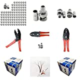 Evertech 100 Pcs BNC Male Crimp Connector for Siamase RG59 + Crimping Tool + 1000 Feet Siamese RG59 Video &...