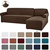 CHUN YI 2 Pieces L-Shaped Right Chaise Jacquard Polyester Stretch Fabric Sectional Sofa Slipcovers Dust-Proof L Shape Corner 2 Seats Sofa Cover Set for Living Room (Coffee)