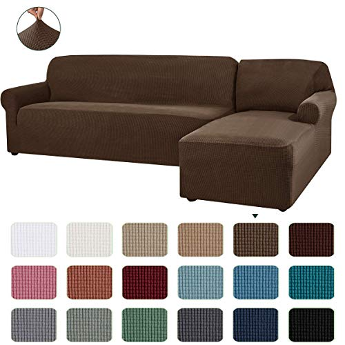 CHUN YI Stretch Sectional Couch Covers Soft L-Shaped Sofa Slipcovers with Elastic Bootm , Jacquard Chaise Lounge Set for Living Room 2 Seat Protector (Right Chaise,Coffee)
