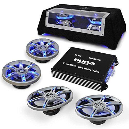 auna Beatpilot FX-412 Set Equipo de Sonido para Coche HiFi (1000w Potencia máxima, 1 Amplificador de 6 Canales, subwoofer Doble de 10