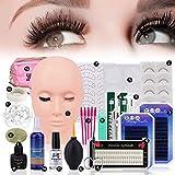 19pcs False Eyelashes Extension Practice Exercise Set, Professional Flat Mannequin Head Lip Makeup Eyelash Grafting Training Tool Kit for Makeup Practice Eye Lashes Graft