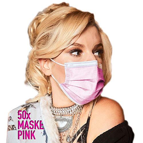 DECADE® 50x Einweg Masken Gesichtsmasken Vlies Einwegmasken Mundschutz Staubschutz mit Ohrschlaufen Farbe Rosa Pink Atemmasken Atemschutzmasken 3lagige Maske