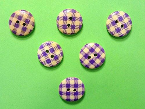 Boutique d'isacrea LOT 6 BOUTONS BOIS à coudre : rond motif vichy violet/blanc 15mm