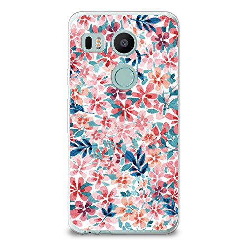CasesByLorraine Nexus 5X Case, Colorful Watercolor Print Floral Flowers Case Flexible TPU Soft Gel Protective Cover for LG Google Nexus 5X (P69)