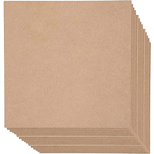 Blank Wood Board, MDF Chipboard Sheets for Crafts (12x12 in, 20 Pack)