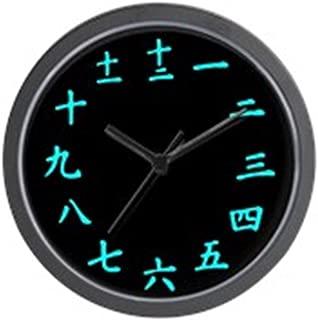 CafePress Inverted Japanese Kanji Wall Clock (Light Blue) Unique Decorative 10