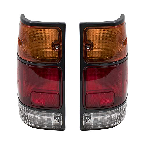 Brock Replacement Driver and Passenger Taillights Tail Lamps w/Black Trim Compatible with 88-95 Pickup Truck 8971210730 8971210720