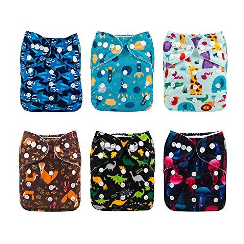 Alva Baby - Pañales de tela reutilizables (6 unidades), lavables, 6 unidades de pañales + 12 paños interiores Boy color 6DM39 Talla:All in one