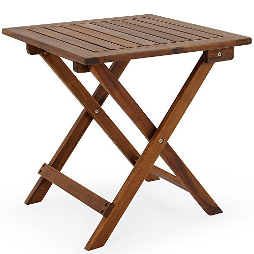 Deuba Coffee Table Small Wood 46x46cm Folding Square Side Bistro Patio Garden Balcony Living Room Outdoor Furniture