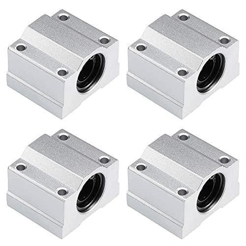 Kaxofang 4 Piezas SCS8UU Bloque de Aluminio Rodamiento de Bolas de Movimiento Lineal CNC Bush Deslizante