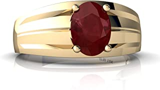 14kt Gold Ruby 8x6mm Oval Men's Ring