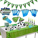 BETOY Set per Feste di Calcio 106PCS orniture per Feste di Calcio Compleanno Party Tableware Kit Festa in Tavola per Piatti di Carta, Tovaglioli, Cannucce, Striscioni, Coltelli, Forchette e Cucchiai