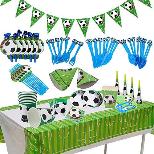 BETOY Set per Feste di Calcio 106PCS orniture per Feste di Calcio Compleanno Party Tableware Kit Festa in Tavola per Piatti di Carta, Tovaglioli, Cannucce, Striscioni, Coltelli, Forchette e Cucchiai