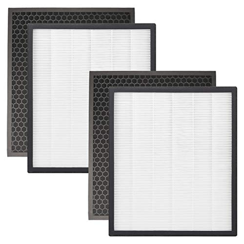 Smilyan LV-PUR131 Filter Replacement for LEVOIT Air Purifier LV-PUR131 LV-PUR131S LV-PUR131-RF, Includes 2 Pack Ture HEPA Filters + 2 Pack Activated Carbon Pre-filters