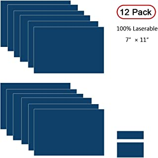"""XLNTECH 100% Laser Engraving Double Color Sheet, Navy Blue/White (7"""" x 11"""" x .060"""", 12 Pieces) for Interior Signs, Badges."""