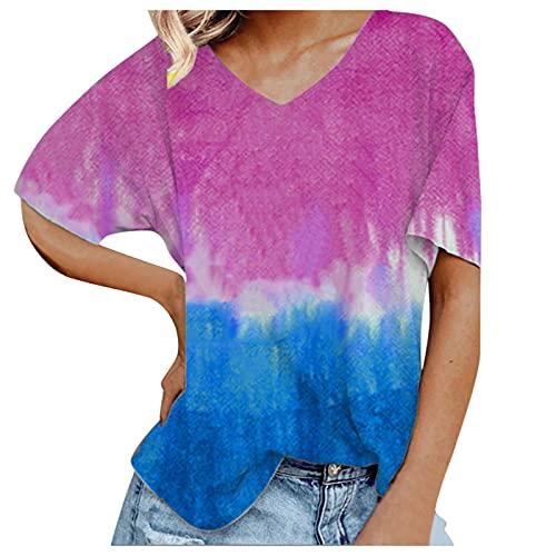 Camisa de Mujer Camiseta de Manga Corta con Cuello en V Camiseta Túnica Ajustada Top Degradado Suelto Verano
