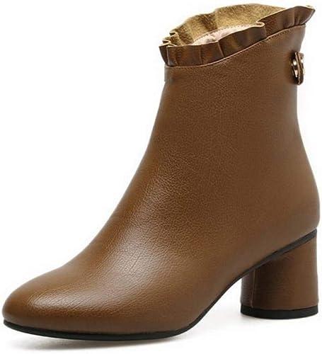 ZHRUI schuhe para damen - Moda de otoño e Invierno, Gruesa con Botines para damen Stiefel cálidas schuhe para damen de Gran tamaño 35-43 (Farbe   Camello, tamaño   36)