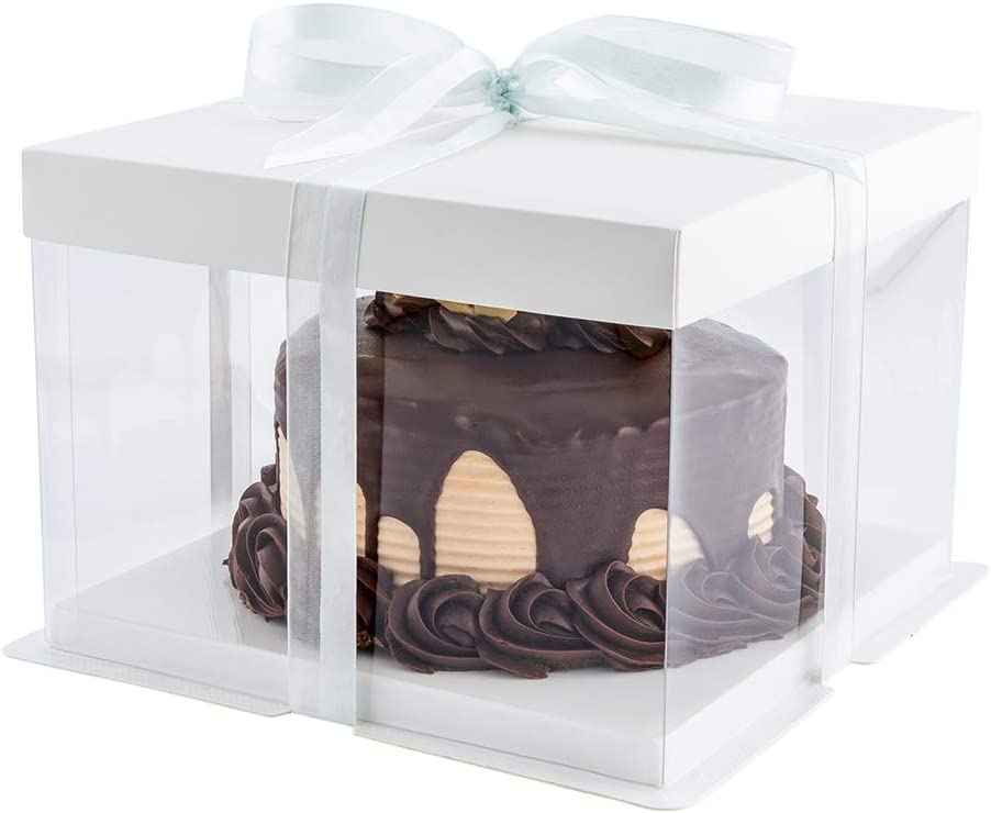 Sweet Vision 8.5 Inch 信託 最新アイテム x 6.75 Transparent 10 Gre Cake Boxes