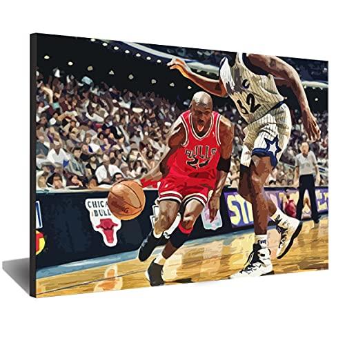 Visionpz DIY Vorgedruckt Leinwand-Ölgemälde Basketball Star Jordan Star Malen Nach Zahlen Kits Kinder Ölgemälde Geschenk Home Haus Deko 40x50cm,with Frame