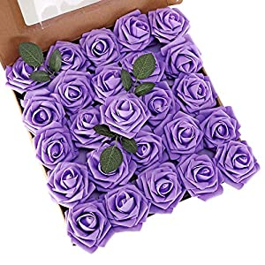 LUSHIDI Artificial Roses Flowers 25pcs Purple Real Looking Fake Roses w/Stem for DIY Wedding Bouquets Centerpieces Baby Shower Party Home Decor