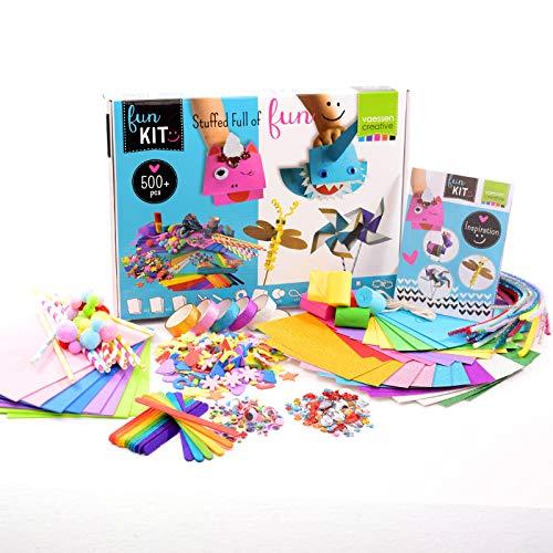 Vaessen Creative 1119-902 Bastelset für Kinder mit 500 Hochwertigen Bastelmaterialien wie Moosgummi, Wackelaugen, Bastelpapier, Pfeifenputzer, Washi Tape, Strasssteinen und Mehr, Set 2