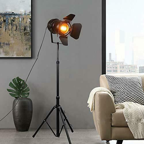 Jasemy Lámpara de Pie Vintage Con Trípode de Madera, Diseño Cine Náutica Industrial, Foco Proyector Orientable Negro, Lámpara de Pie Proyector con Trípode de Madera, Lámpara de Suelo, de Salón