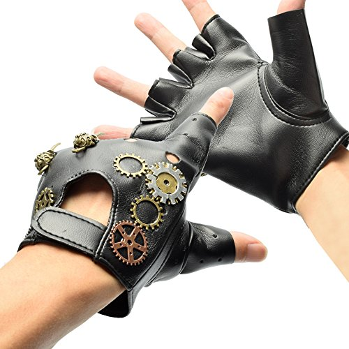BLESSUME Victoriano Punk Sin Dedos Guantes Vendimia gótico Punk Unisexo Cosplay Guantes Negro