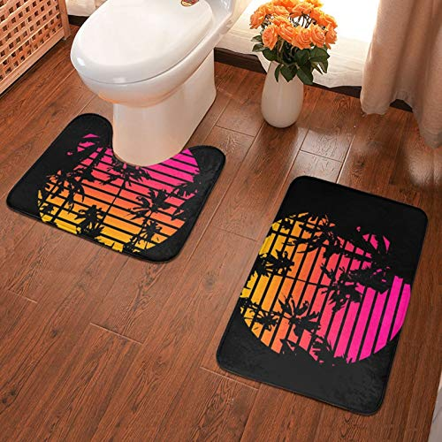John J Littlejohn Non Slip 80s Tropical Sunset Bathroom Antiskid Pad Bathmat Waterproof Bath Carpet Floor Rug 2 Pieces Bath Mat + Contour