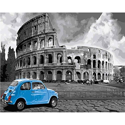 WYTTT Puzzle 1000 Pezzi Arte Puzzle per Adulti Puzzle di Legno Puzzle 3D Bullring Bianco Nero Blu Auto su Colosseo Fatto A DIY Regali di Natale Decorazioni per La Casa,75X50Cm