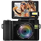Appareil Photo Numérique Caméra 24MP Full HD 2.7K 25FPS Youtube Appareil Photo Compact with Flashlight Retractable and 3.0 inch Flip Screen Appareil Photo
