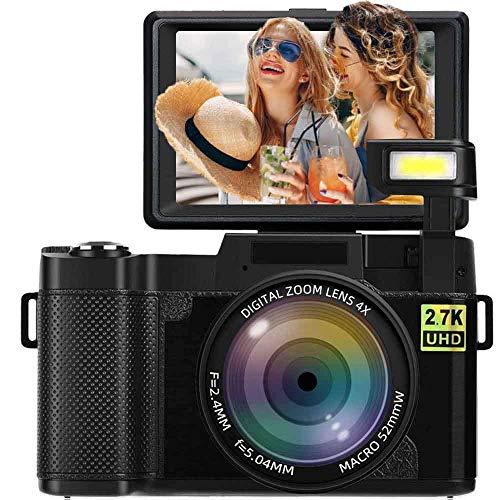 Digitalkamera Fotoapparat Digitalkamera 24 MP Full HD 2,7 K 25 FPS YouTube Kamera mit einziehbarer Taschenlampe und 3,0 Zoll Flip Screen Fotokamera