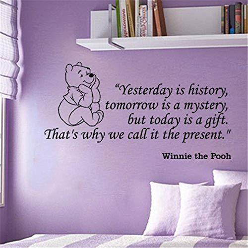 Wandaufkleber Wandtattoo Winnie The Pooh gestern ist Geschichte morgen ist ein Rätsel, aber heute ist es ein Geschenk für Kinderzimmer