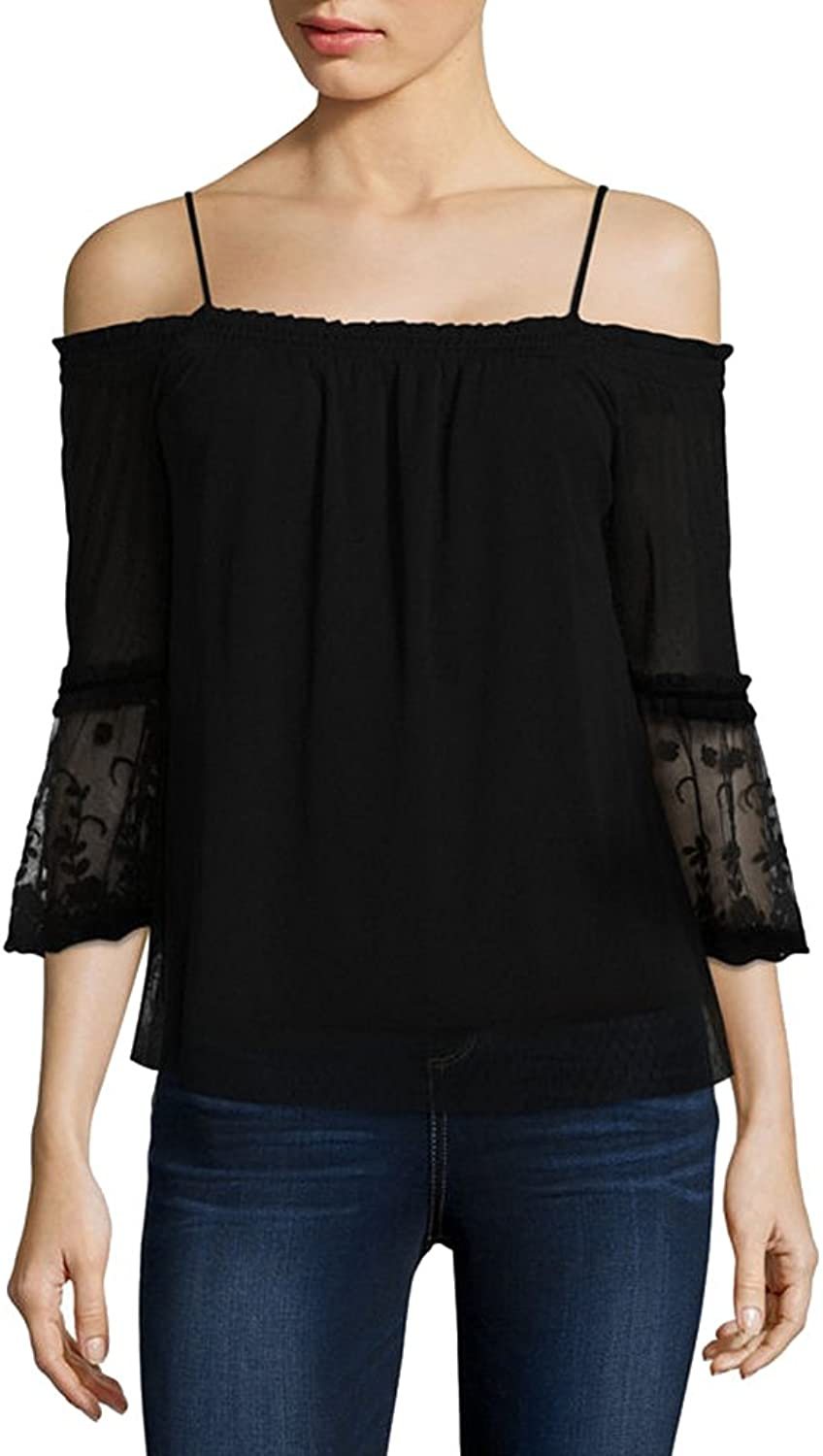 BCX Juniors' LaceSleeve ColdShoulder Top