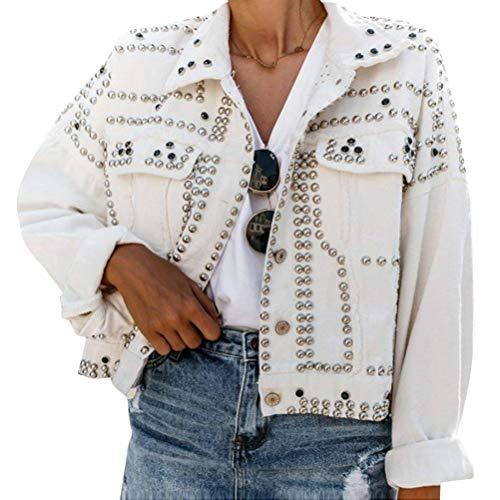 OranDesigne Damen Jeans Jacke Übergangs Jacke Vintage Langhülse Lose Mädchen Jeans Mantel Jeansjacke mit Nieten Weiß XXL