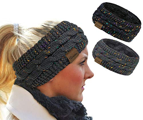 Loritta 2 Pack Headbands for Women Winter Warm Cable Knit Ear Warmer...
