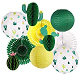 Cactus Party Decorations, Hawaiian Party Supplies Tropical Cactus Hanging Paper Lanterns Cactus Honeycomb Tissue Paper Fans for Llama Birthday Summer Party Home Decoration (Green)